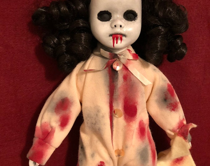 creepy doll bloody girl in pajamas with blankie black eyes child spooky ooak gothic horror halloween art by christie
