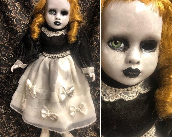 creepy doll Ooak Gothic Horror Pretty girl one eye Halloween Repaint Custom
