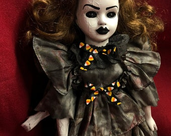 creepy doll nuclear victim 3 arms chemical burn  spooky ooak gothic horror halloween art by christie creepydolls
