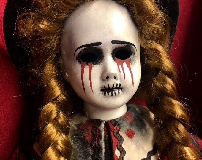 Free usa shipping creepy doll farmers daughter tears of blood girl spooky ooak gothic horror halloween art by christie creepydolls