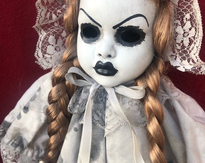 creepy doll bonnet and pigtails spooky ooak gothic horror halloween art by christie creepydolls