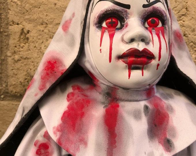 Creepy doll bloody evil 666 nun ooak gothic horror halloween art by christie creepydolls