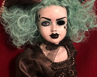 Sale creepy doll teal hair mourning lady spooky ooak gothic horror halloween art by christie creepydolls