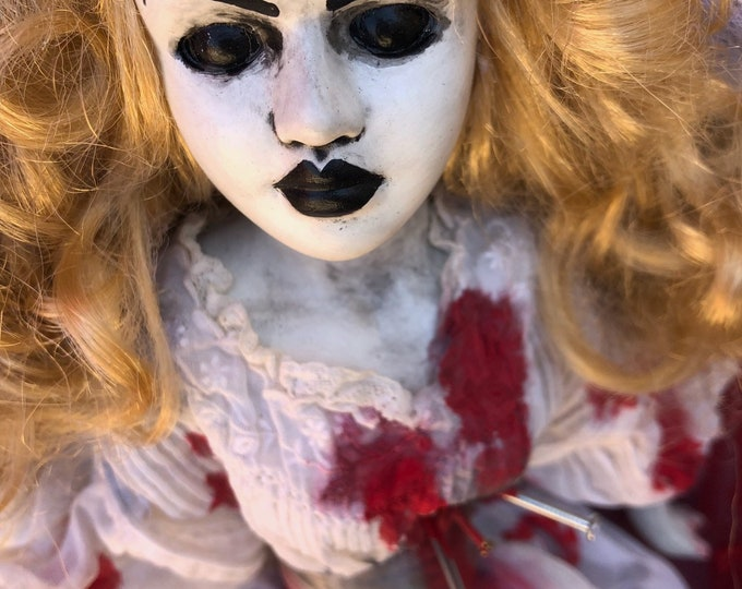 Free usa shipping creepy doll wedding ghost brode with nails spooky ooak gothic horror halloween art by christie creepydolls