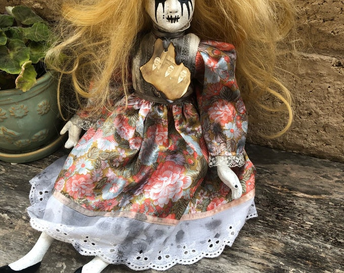 Creepy Doll with old photo ooak Halloween horror sitting Gothic porcelain moving crazy weeping mascara tears girl by christiecreepydolls