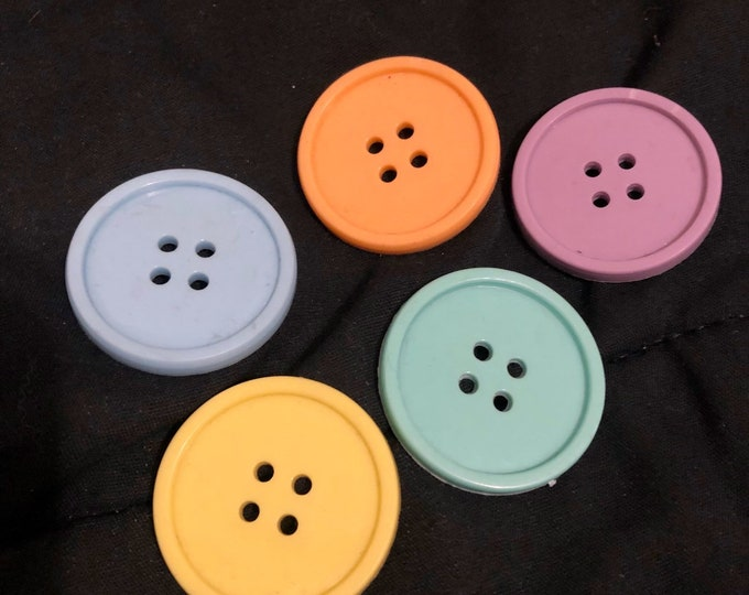 Large pastel buttons for halloween clown or a retro 80s jacket plastic teen lot of 5 kinder lolita dolly punk