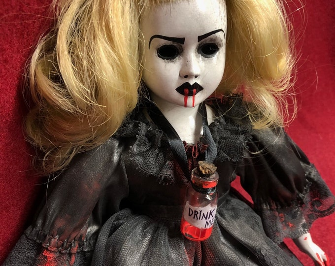 Free usa shipping smaller creepy doll dark alice in wonderland spooky ooak gothic horror halloween art by christie creepydolls