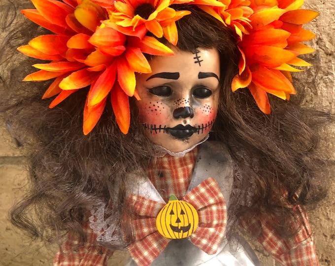 Creepy doll fall pumpkin day of the dead girl OOAK gothic horror art by Christie Creepydolls