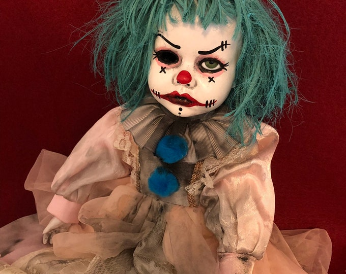 creepy doll sitting blue hair clown spooky circus ooak gothic horror halloween art by christie creepydolls