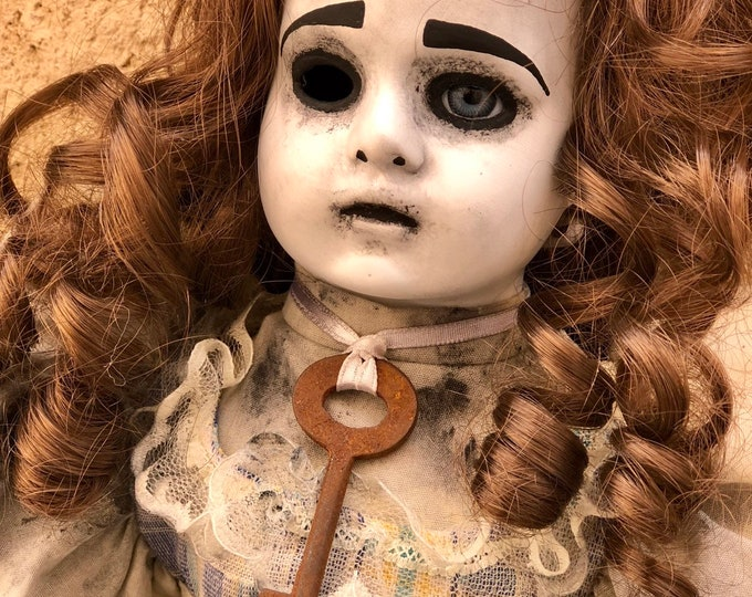 Creepy doll old skeleton key spooky doll ooak gothic horror halloween art by christie creepydolls