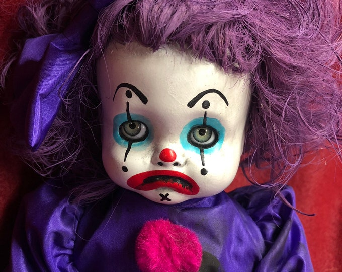 creepy doll smaller sitting clown girl in purple doll spooky ooak gothic horror halloween art by christie creepydolls
