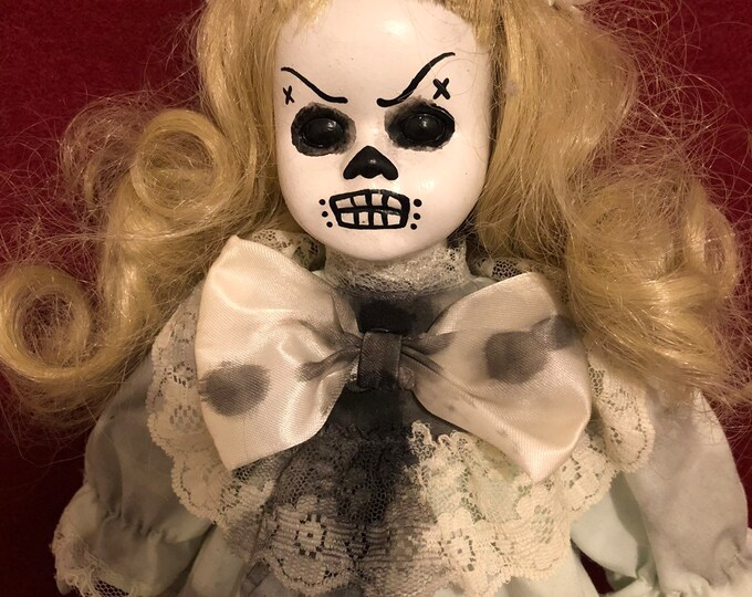 creepy doll smaller day of the dead girl spooky ooak gothic horror halloween art by christie creepydolls