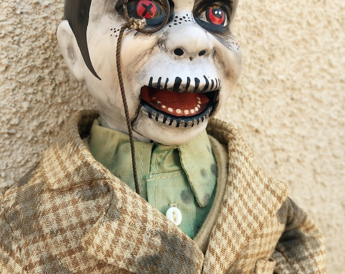 creepy sitting ventriloquist dummy man with monocle spooky ooak gothic horror halloween art by christie creepydolls