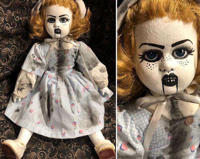 creepy doll Ooak Gothic Horror Ventriloquist Dummy Girl Halloween Repaint Custom
