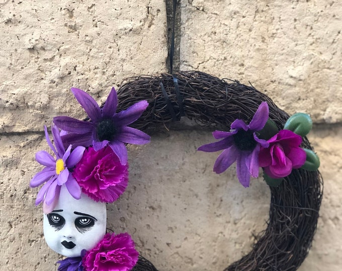 Creepy Doll parts face smaller purple flower wreath for your home decor gothic halloween ooak by christiecreepydolls