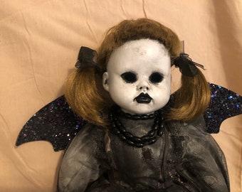creepy doll baby bat mourning doll with glitter bat wings spooky ooak gothic horror halloween art by christie creepydolls