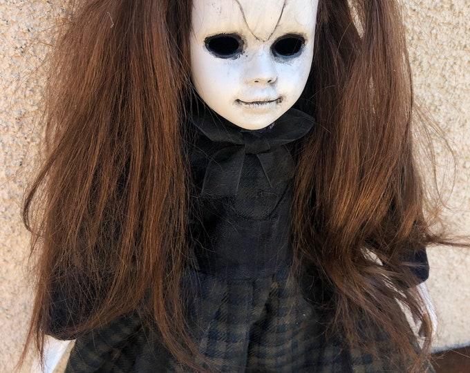 creepy cracked broken dolly girl spooky ooak gothic horror halloween art by christie creepydolls