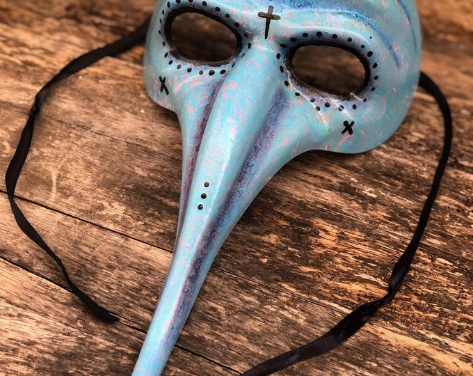 Blue and pink mask halloween costume plague doctor bird mask hand painted Black Death renn faire fetish adjustable tie back