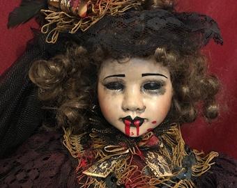 Sale creepy doll spooky victorian elegant vampire lady ooak gothic horror halloween art by christie creepydolls