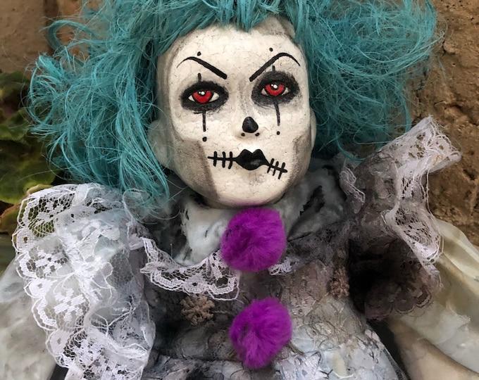 Creepy doll Blue hair Clown ooak sitting circus halloween horror repaint art by christie creepydolls
