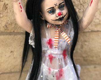 Free usa shipping black hair vinyl clown doll repaint ooak creepy Gothic Horror halloween art dolls ChristieCreepydolls