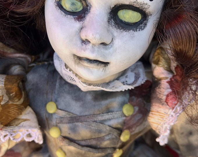 Free usa shipping creepy doll 666 evil lady spooky ooak gothic horror halloween art by christie creepydolls