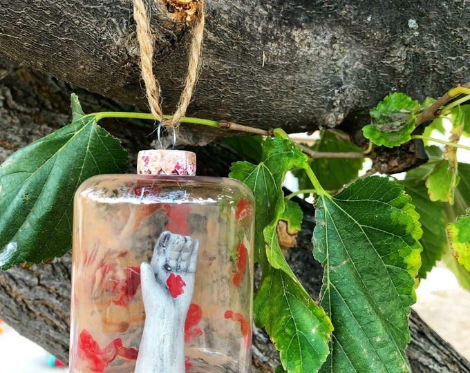 Free usa shipping Ooak creepy doll arm in jar Gothic Horror art halloween christmas parts hanging ornaments no 2