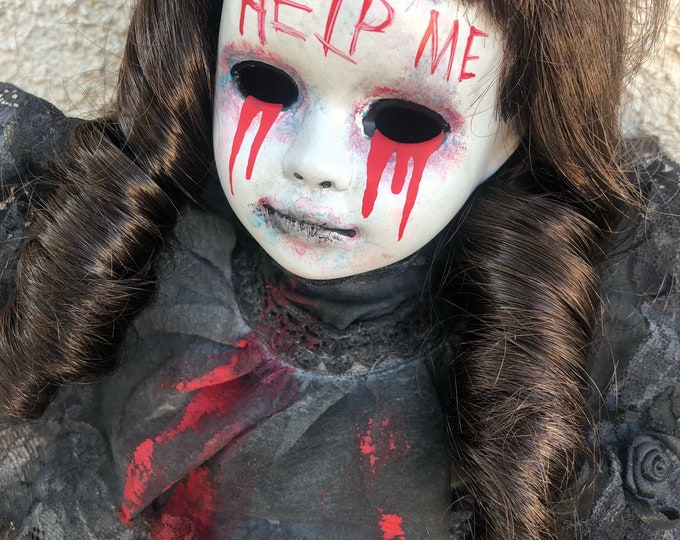 creepy help me bloody mourning girl spooky ooak gothic horror halloween art by christie creepydolls