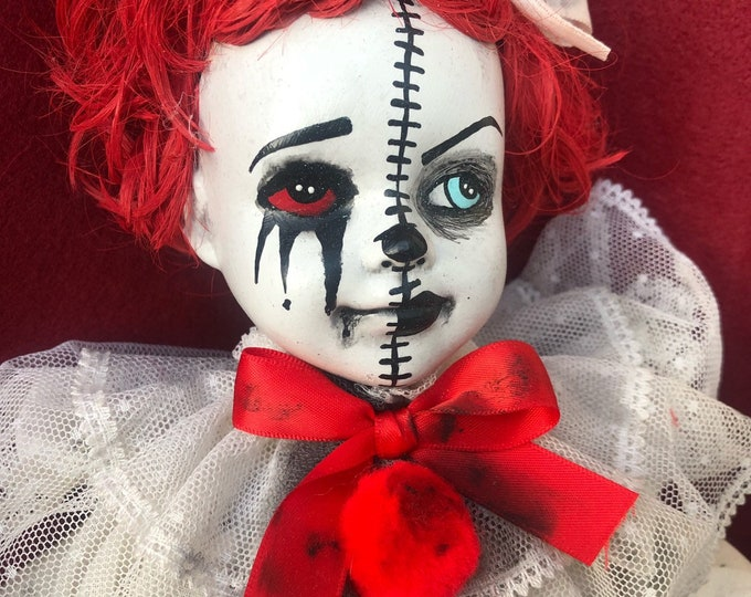 Free usa shipping Creepy doll Half and half clown girl with red hair ooak horror halloween cute art by christie creepydolls