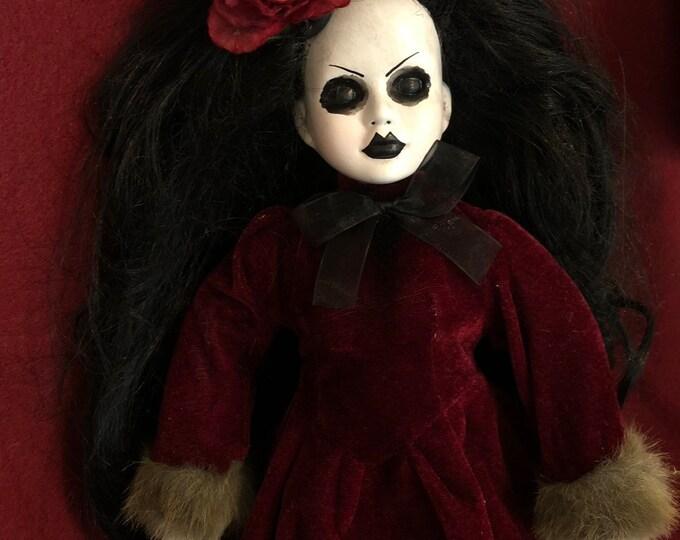 creepy doll black hair lady in winter velvet dress spooky ooak gothic horror halloween art by christie creepydolls