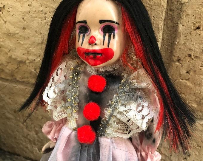 creepy doll smaller clown girl spooky doll ooak gothic horror halloween art by christie creepydolls