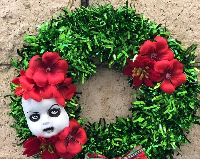 Creepy Doll parts face medium size christmas flower wreath for your home creepy decor gothic halloween ooak christiecreepydolls