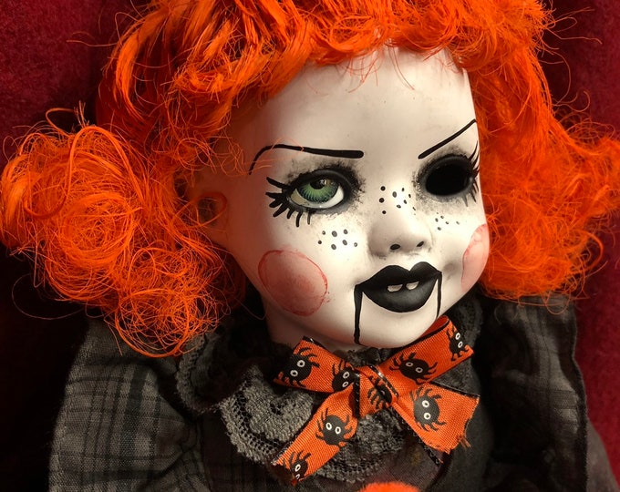 Free usa shipping creepy sitting doll orange hair  ventriloquist dummy girl spooky ooak gothic horror halloween art by christie creepydolls