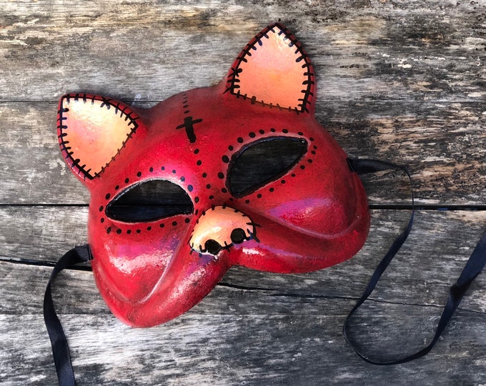Red kitty cat mask halloween costume hand painted renn faire fetish adjustable tie back