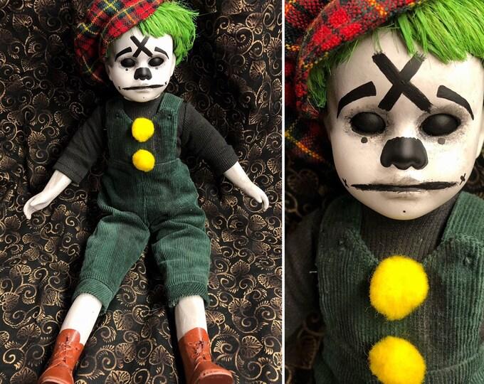 creepy doll Ooak Gothic Halloween Horror Clown Boy Circus Repaint Custom Art