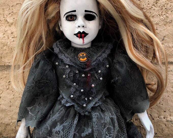 Creepy doll vampire funeral death girl with bat brooch spooky ooak gothic horror halloween art by christie creepydolls