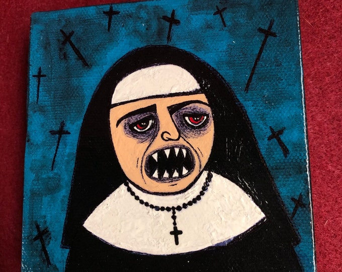 Free usa shipping Creepy art original weird scary acrylic painting vampire sharp teeth nun by christiecreepydolls