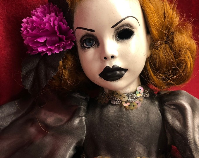 creepy doll pretty girl with purple flower spooky ooak gothic horror halloween art by christie creepydolls