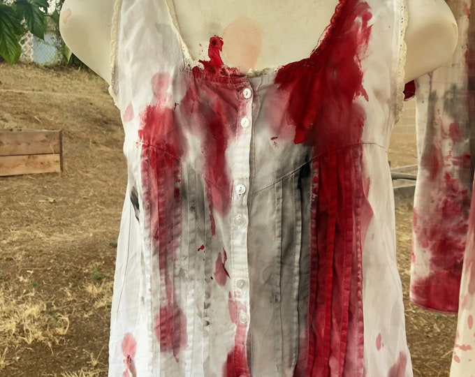 S small SM ladies white nightgown chemise zombie vampire victim horror halloween murder crime ooak bloody costume