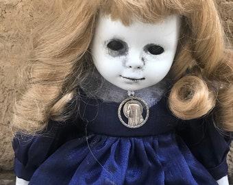 Free usa shipping Blue dress nun charm sitting ooak creepy gothic horror halloween art doll by christie  creepydolls