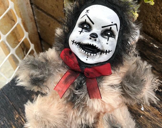 Creepy doll plush teddy bear clown halloween horror  ooak art doll by Christie Creepydolls nails in eyes