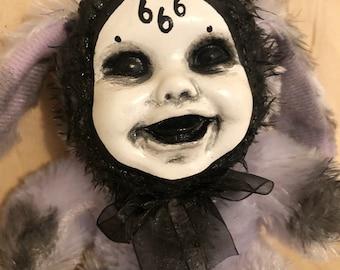 Creepy doll bunny rabbit smaller plush 666 evil possessed purple fur gothic halloween horror by christiecreepydolls