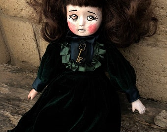 Free usa shipping Sweet sitting creepy girl with old style key ooak halloween gothic horror doll by christie creepydolls