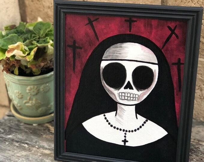 Creepy art Framed original acrylic painting dead skull skeleton nun 8 x10 by christiecreepydolls