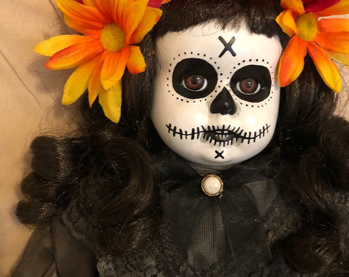 creepy doll mourning day of the dead orange flowers spooky ooak gothic horror halloween art by christie creepydolls
