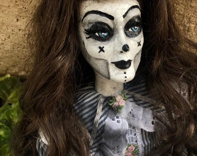 Creepy doll sitting lady in striped dress ooak gothic halloween horror art by christie creepydolls