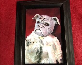 framed creepy doll dog print home decor gothic halloween horror   ChristieCreepydolls