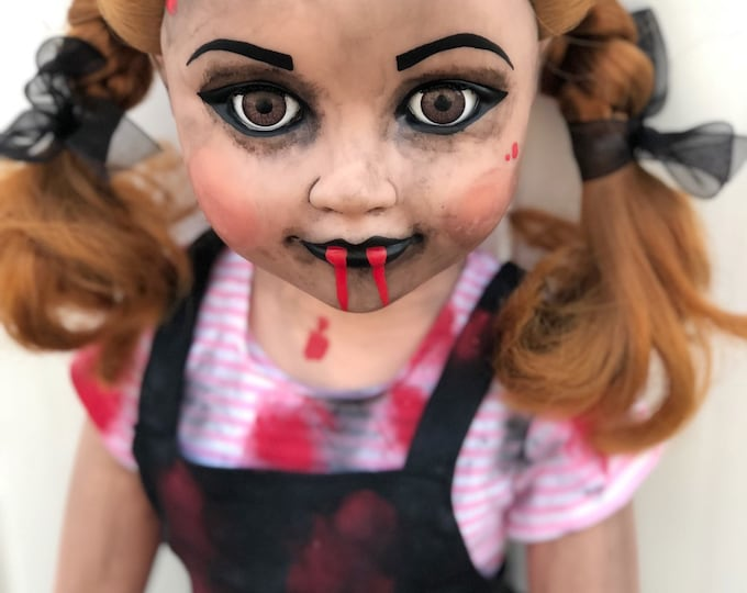 Free usa shipping creepy plastic 2 foot tall cute kid girl doll spooky ooak gothic horror halloween art by christie creepydolls