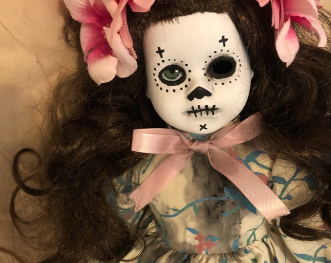 creepy doll day of the dead pink flowers spooky ooak gothic horror halloween art by christie creepydolls