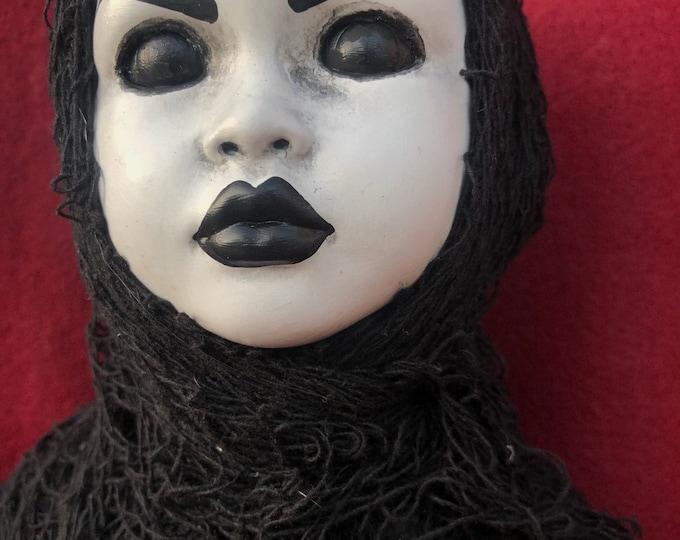 creepy lady death in tattered rags spooky ooak gothic horror halloween art by christie creepydolls